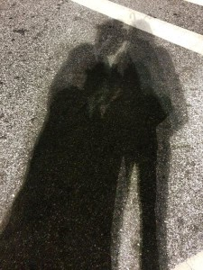 Our shadow selves in the parking lot where we went shopping. We thought our shadows looked cool.